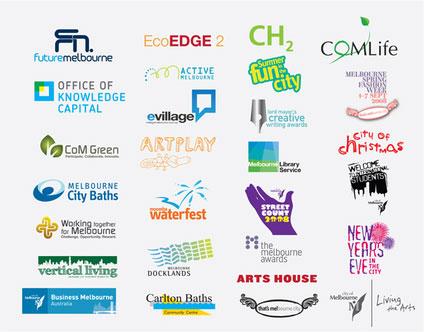 Grafik: bisherige Logos für die Stadt Melbourne