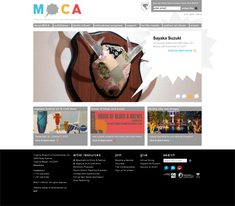 Screenshot MOCA Homepage