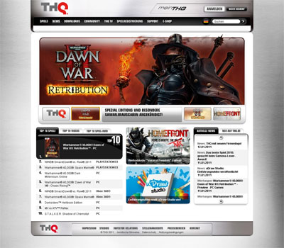 Screenshot THQ Homepage