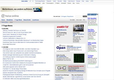 Screenshot: Heise Newsticker Neu