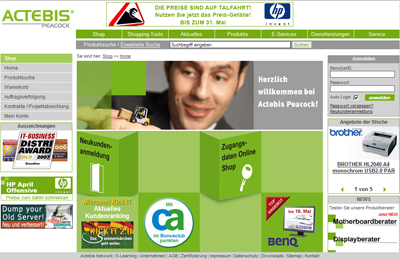 Screenshot: Actebis Peacock Homepage